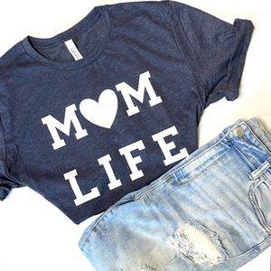 Mom Life Navy White Unisex Graphic T-Shirt